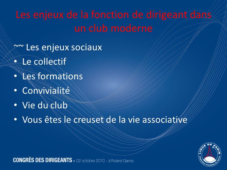 Les enjeux de la fonction de dirigeant dans un club moderne ~~ Les enjeux sociaux Le collectif Les formations Convivialité Vie du club Vous êtes le cr