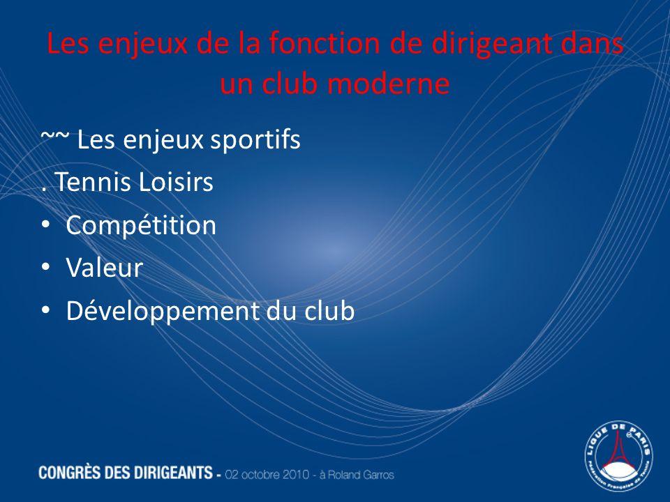 Les enjeux de la fonction de dirigeant dans un club moderne ~~ Les enjeux sportifs. Tennis Loisirs Compétition Valeur Développement du club