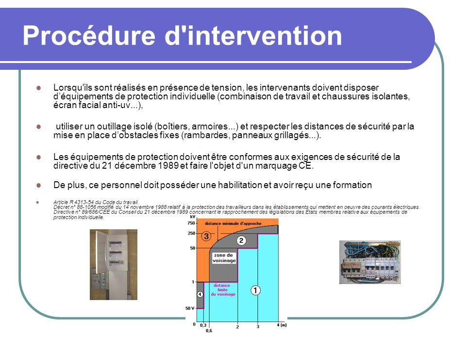 Procédure d'intervention Lorsqu'ils sont réalisés en présence de tension, les intervenants doivent disposer déquipements de protection individuelle (c