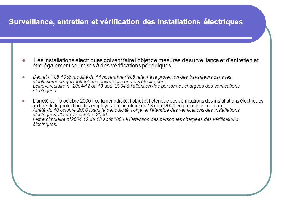 Surveillance, entretien et vérification des installations électriques Les installations électriques doivent faire lobjet de mesures de surveillance et