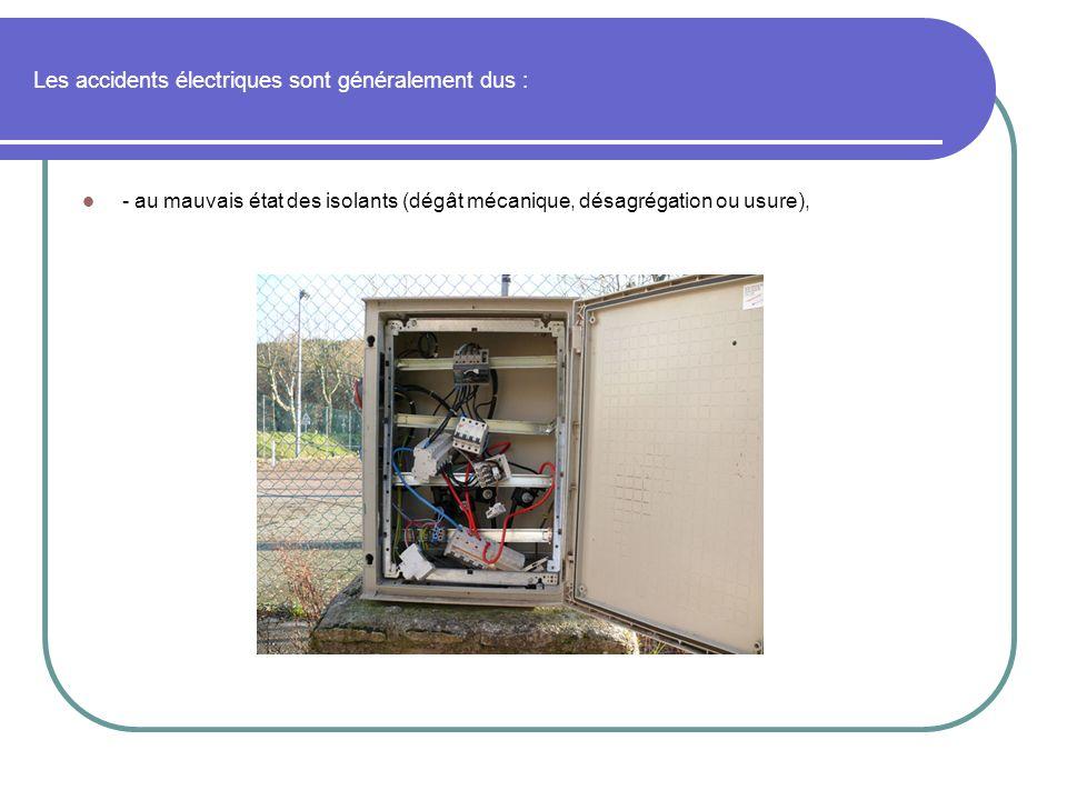 Les accidents électriques sont généralement dus : - au mauvais état des isolants (dégât mécanique, désagrégation ou usure),