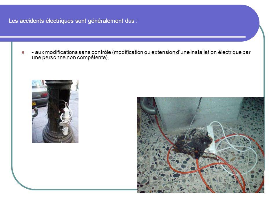 Les accidents électriques sont généralement dus : - aux modifications sans contrôle (modification ou extension d'une installation électrique par une p