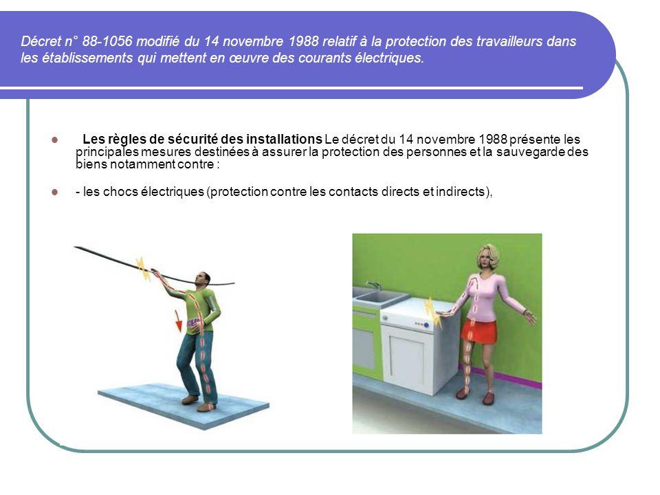Décret n° 88-1056 modifié du 14 novembre 1988 relatif à la protection des travailleurs dans les établissements qui mettent en œuvre des courants électriques.