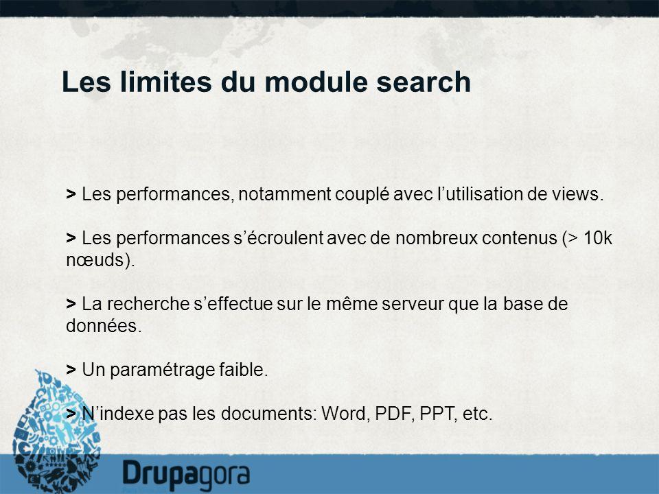 Les limites du module search > Les performances, notamment couplé avec lutilisation de views. > Les performances sécroulent avec de nombreux contenus