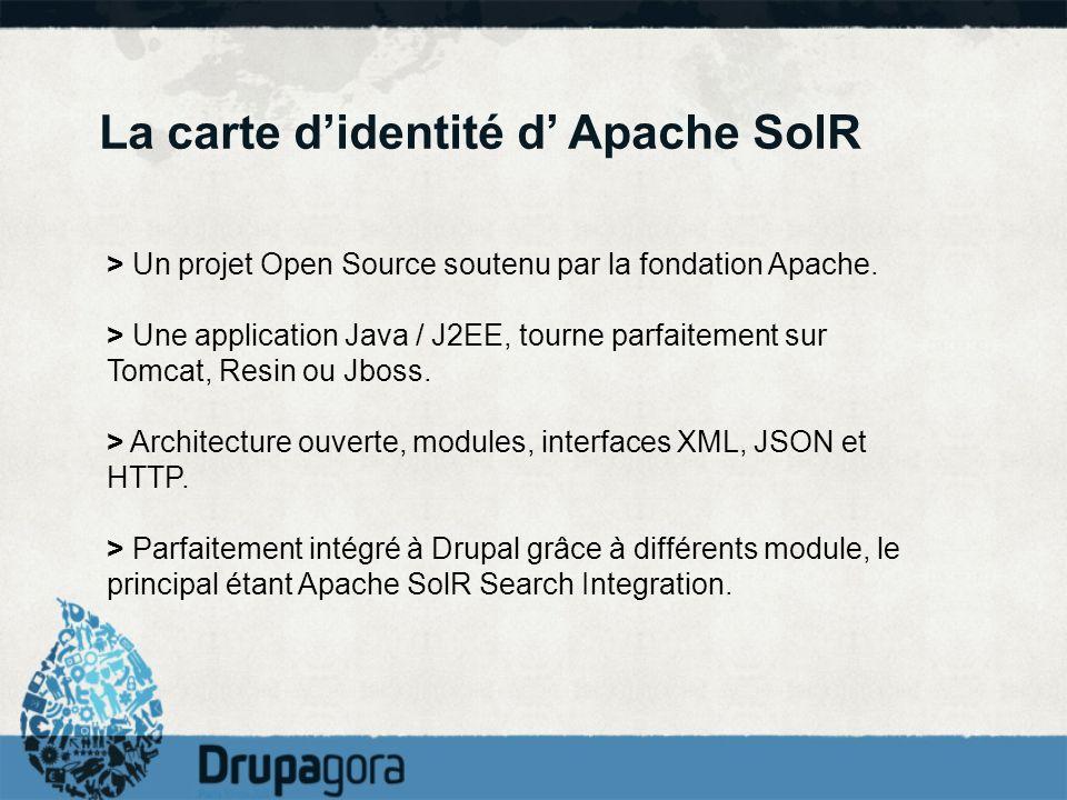 La carte didentité d Apache SolR > Un projet Open Source soutenu par la fondation Apache. > Une application Java / J2EE, tourne parfaitement sur Tomca