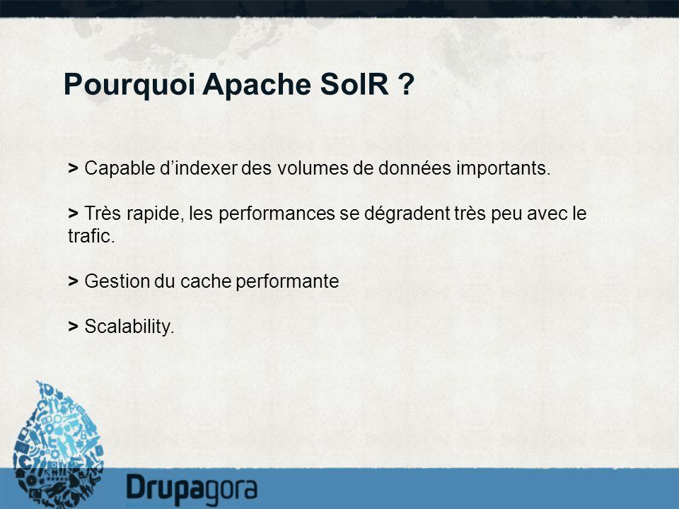 Pourquoi Apache SolR ? > Capable dindexer des volumes de données importants. > Très rapide, les performances se dégradent très peu avec le trafic. > G