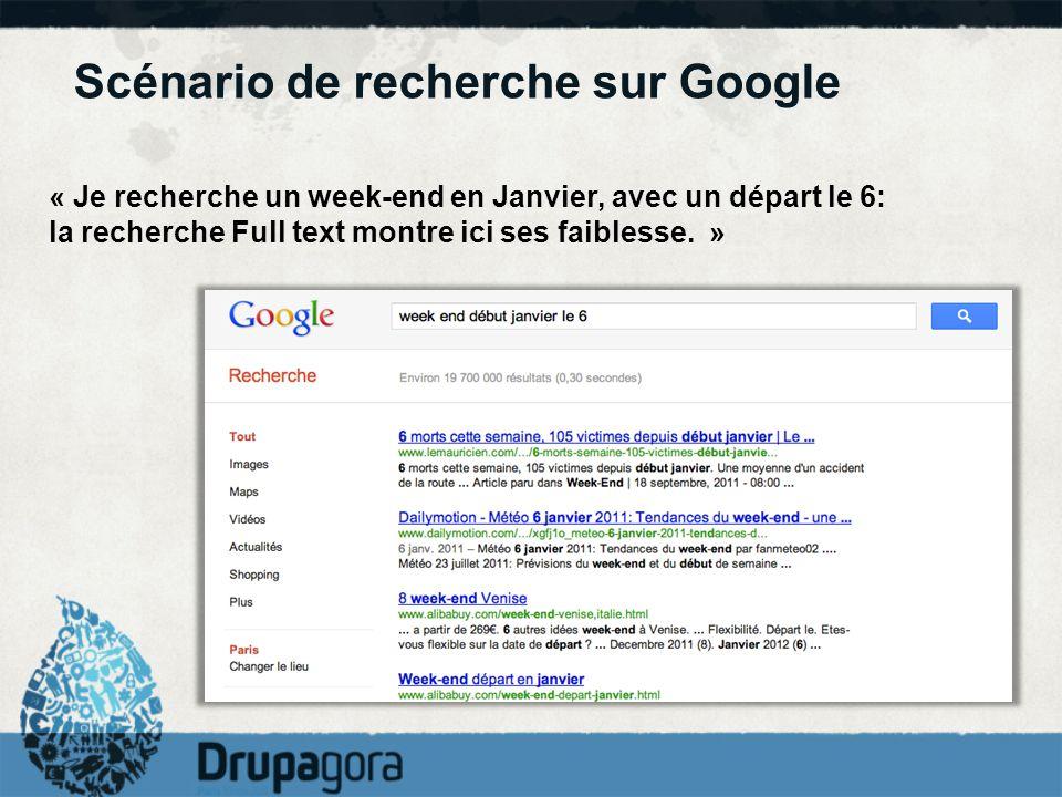Scénario de recherche sur Google « Je recherche un week-end en Janvier, avec un départ le 6: la recherche Full text montre ici ses faiblesse. »
