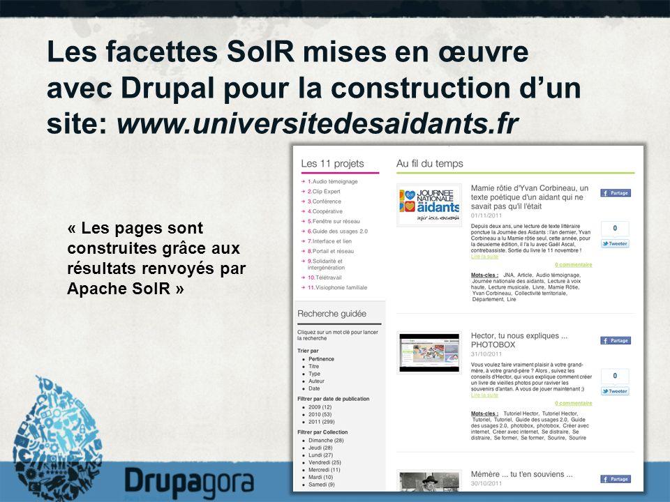 Les facettes SolR mises en œuvre avec Drupal pour la construction dun site: www.universitedesaidants.fr « Les pages sont construites grâce aux résulta