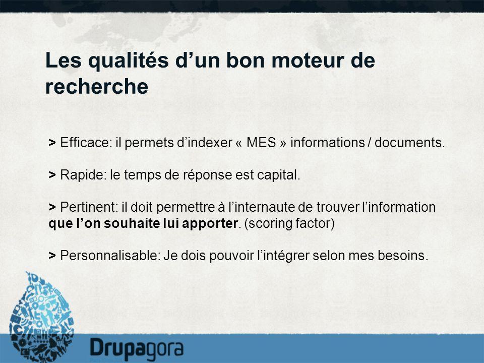 Les qualités dun bon moteur de recherche > Efficace: il permets dindexer « MES » informations / documents. > Rapide: le temps de réponse est capital.