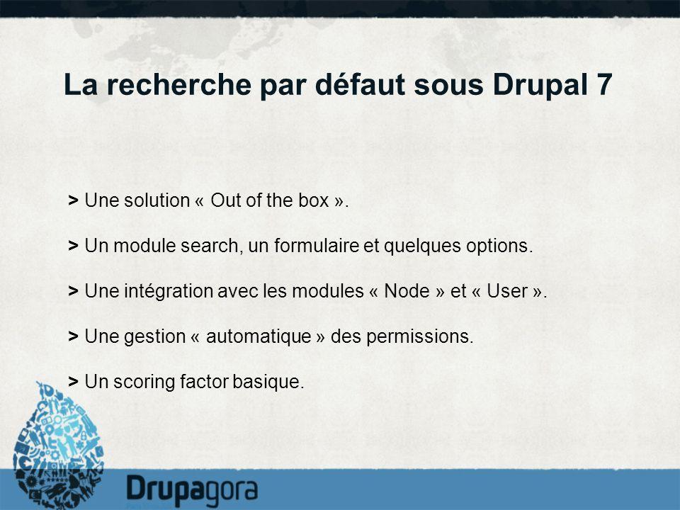 La recherche par défaut sous Drupal 7 > Une solution « Out of the box ». > Un module search, un formulaire et quelques options. > Une intégration avec