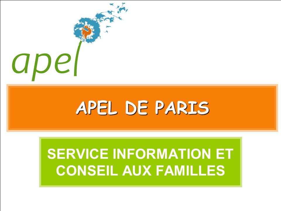 APEL DE PARIS SERVICE INFORMATION ET CONSEIL AUX FAMILLES