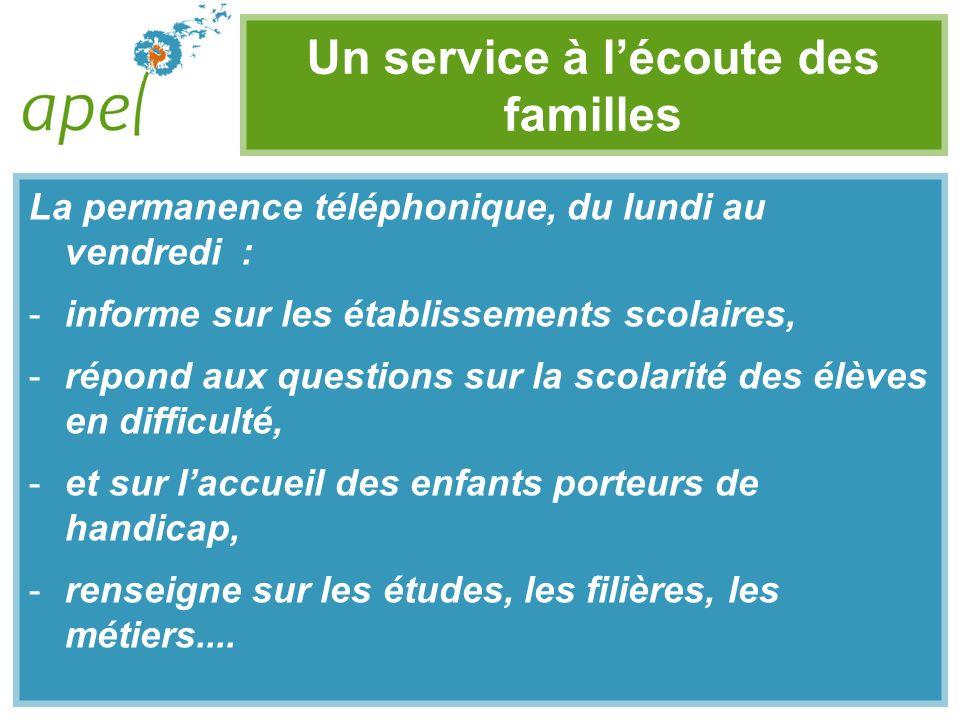 Un service à lécoute des familles La permanence téléphonique, du lundi au vendredi : -informe sur les établissements scolaires, -répond aux questions