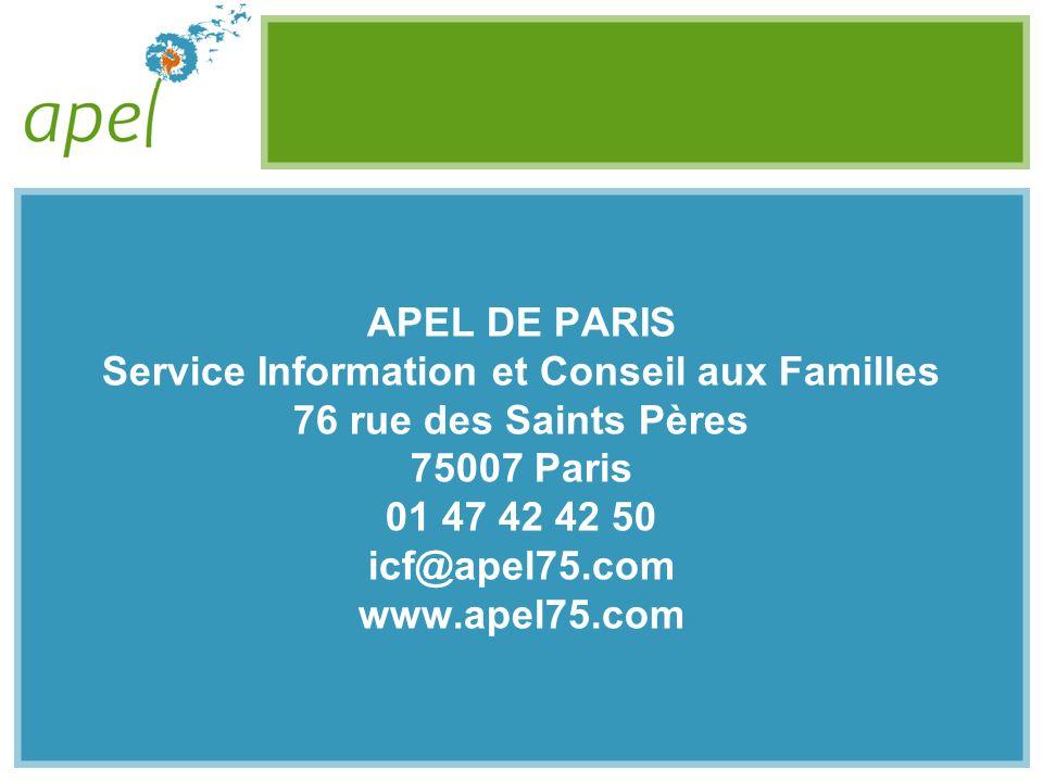 APEL DE PARIS Service Information et Conseil aux Familles 76 rue des Saints Pères 75007 Paris 01 47 42 42 50 icf@apel75.com www.apel75.com