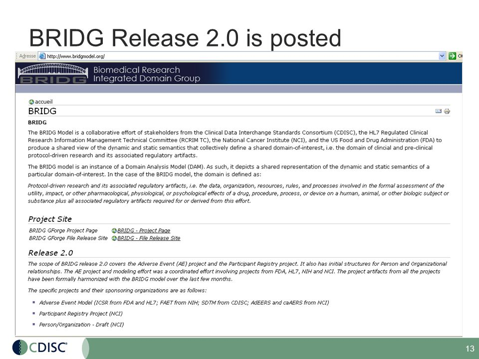 13 BRIDG Release 2.0 is posted