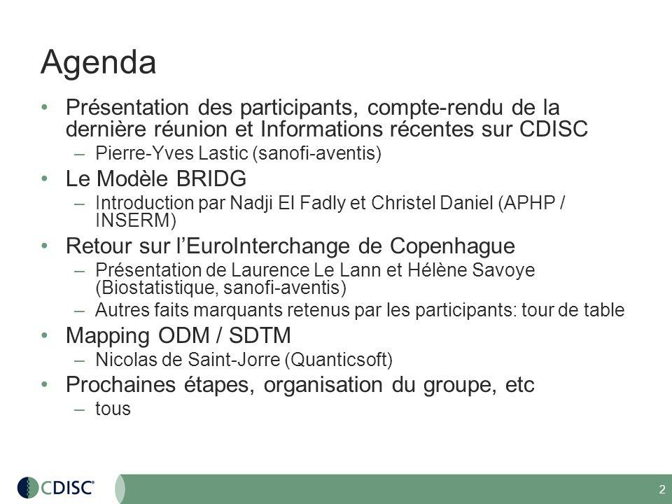 3 Compte-rendu de la réunion du GUF CDISC à Copenhague le 22/04/2008 (1/2) Rappel de lévolution du groupe francophone CDISC –Groupe de travail au sein de DMB au départ (2001), –journées CDISC en septembre 2003 et en juin 2004, session au sein de lEuroInterchange davril 2005 –Relancement en temps que groupe dutilisateurs au sein du réseau global des utlisateurs CDISC en 2007 –Aujourdhui : 65+ inscrits Objectifs du groupe : –promotion des standards –discussion avec CDISC.ORG Programme de la prochaine réunion (face to face – fin mai début juin – date à définir) : –présentation de CDISC/APHP –retour de la conférence CDISC –présentation de BRIDG (qui doit devenir un standard ISO) –mapping ODM - SDTM – CRTDDS