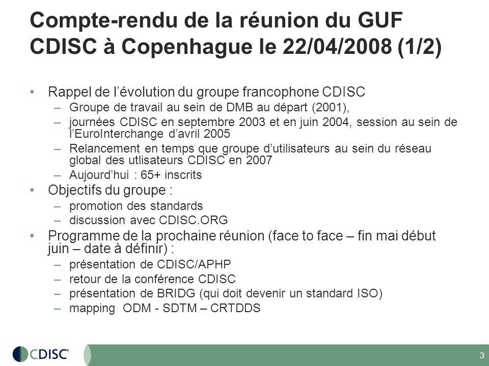 4 Compte-rendu de la réunion du GUF CDISC à Copenhague le 22/04/2008 (2/2) Standard Protocol : sortie au 3T2008 Il existe un portail pour le french user group : portail déchanges et de publication des documents.