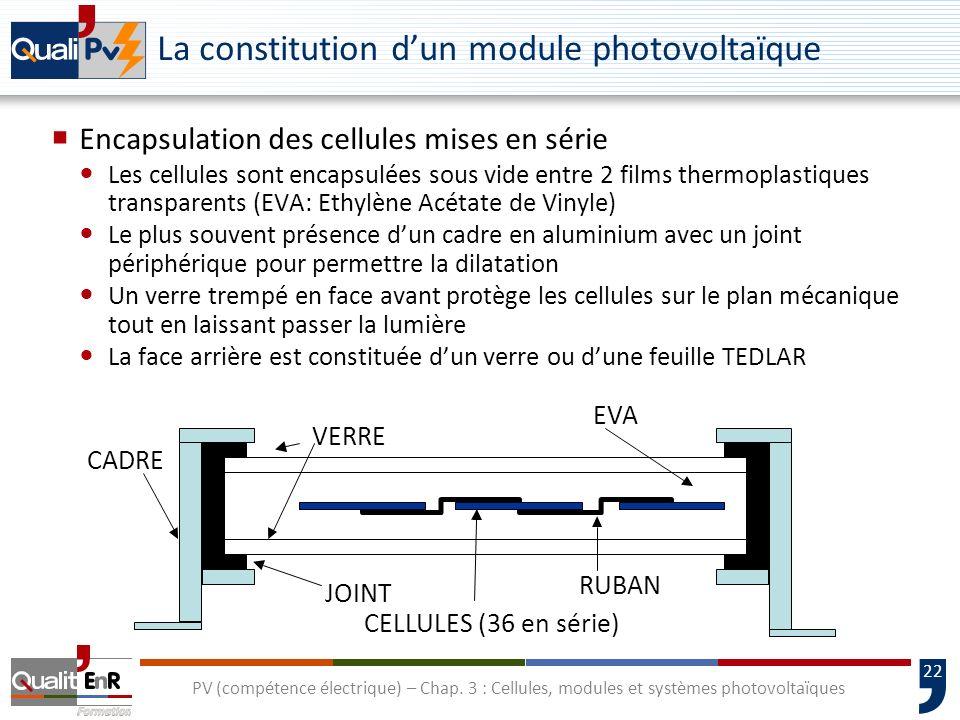 21 PV (compétence électrique) – Chap. 3 : Cellules, modules et systèmes photovoltaïques La constitution dun module photovoltaïque Câblage des cellules