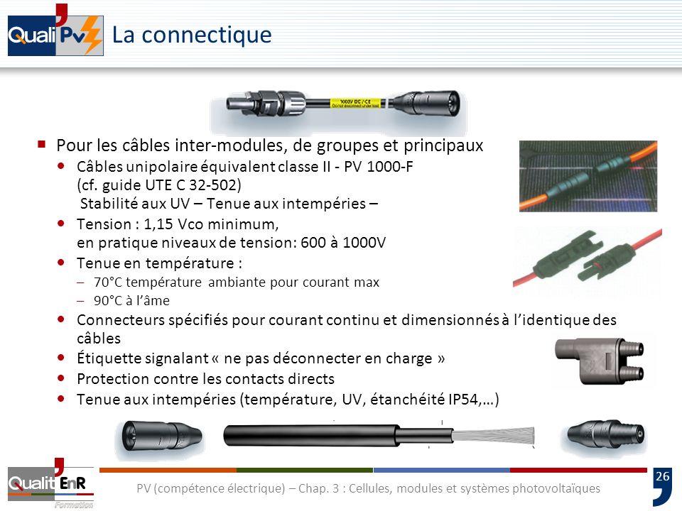 25 PV (compétence électrique) – Chap. 3 : Cellules, modules et systèmes photovoltaïques La constitution dun module photovoltaïque Connexion La boîte d
