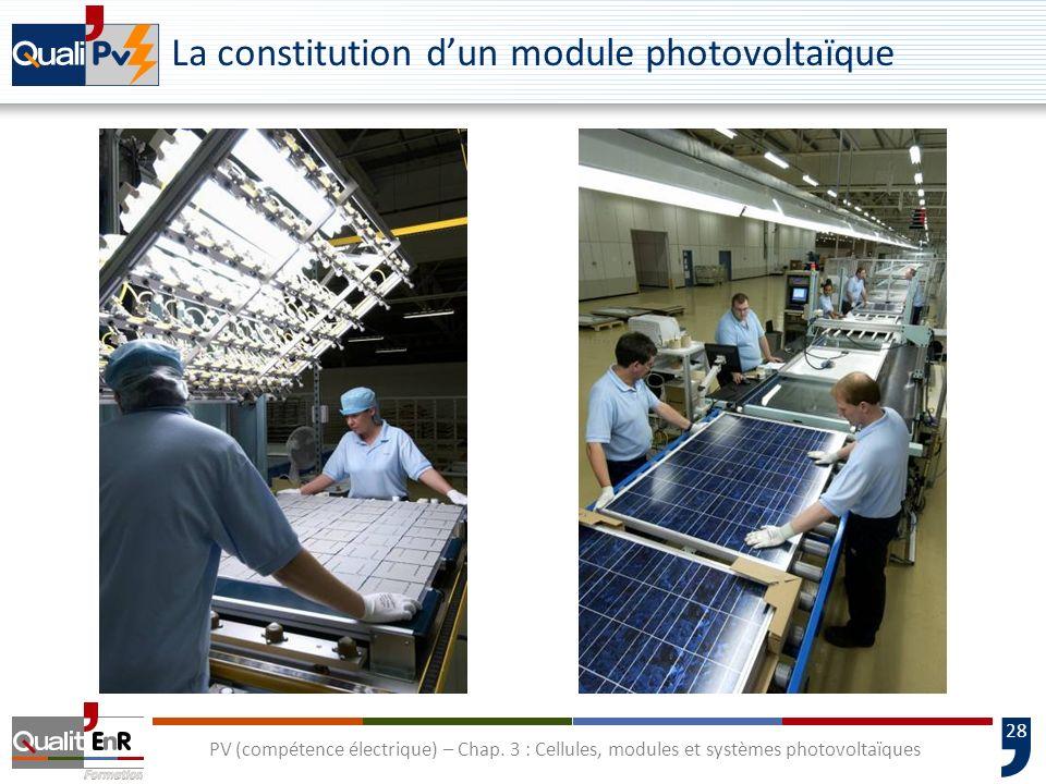 27 PV (compétence électrique) – Chap. 3 : Cellules, modules et systèmes photovoltaïques La constitution dun module photovoltaïque