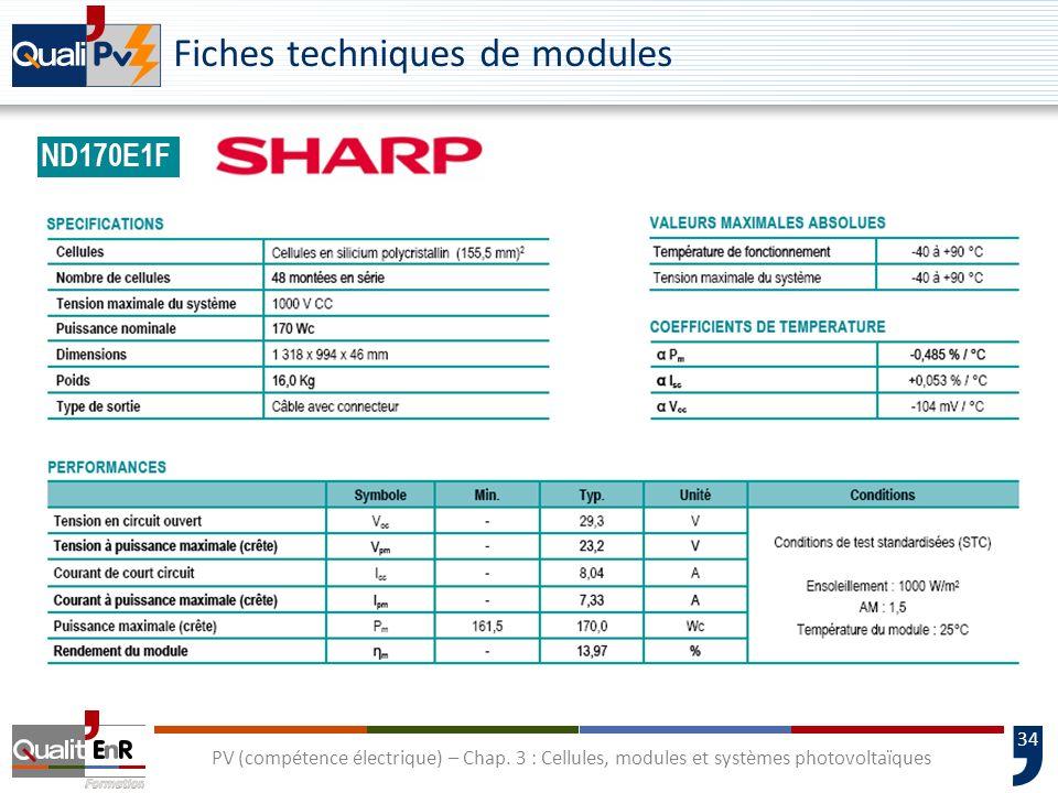 33 PV (compétence électrique) – Chap. 3 : Cellules, modules et systèmes photovoltaïques Les modules photovoltaïques Caractéristiques : Isolation class