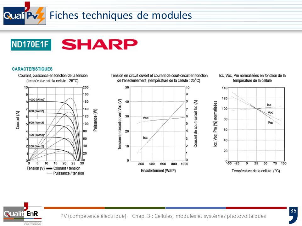 34 PV (compétence électrique) – Chap. 3 : Cellules, modules et systèmes photovoltaïques Fiches techniques de modules