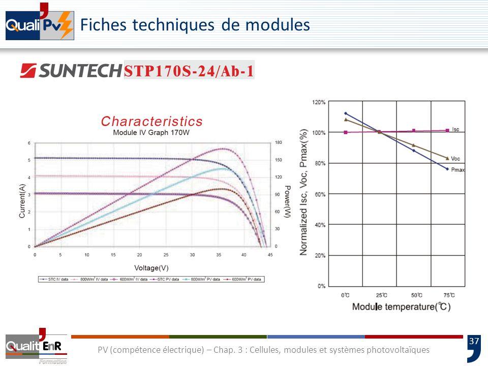 36 PV (compétence électrique) – Chap. 3 : Cellules, modules et systèmes photovoltaïques Fiches techniques de modules