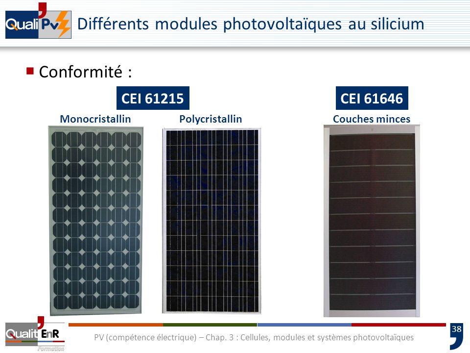 37 PV (compétence électrique) – Chap. 3 : Cellules, modules et systèmes photovoltaïques Fiches techniques de modules