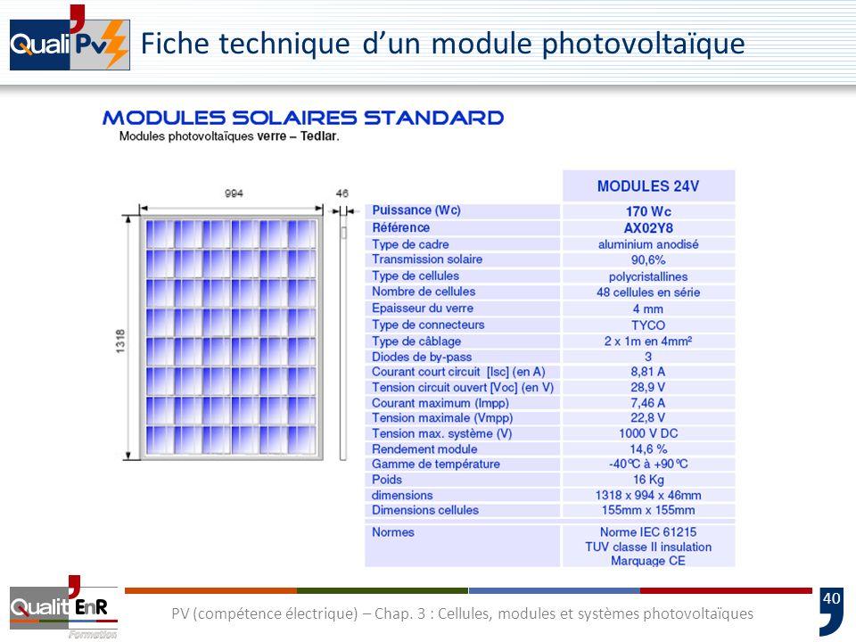 39 PV (compétence électrique) – Chap. 3 : Cellules, modules et systèmes photovoltaïques Spécification des modules photovoltaïques P m Puissance nomina