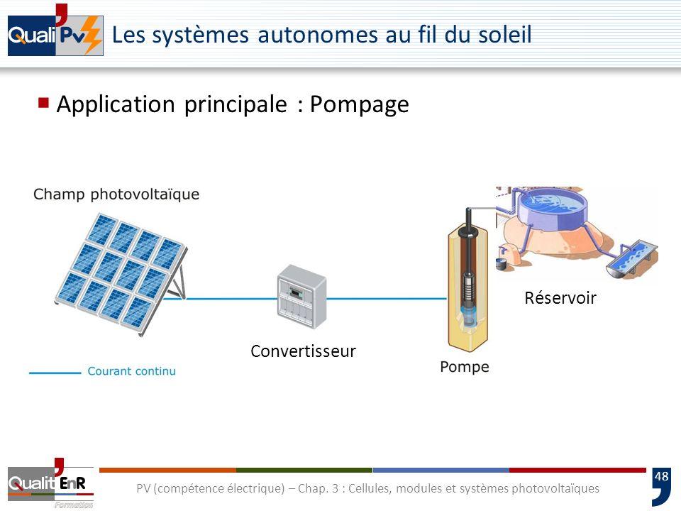 47 PV (compétence électrique) – Chap. 3 : Cellules, modules et systèmes photovoltaïques Systèmes photovoltaïques Systèmes de pompage Systèmes autonome