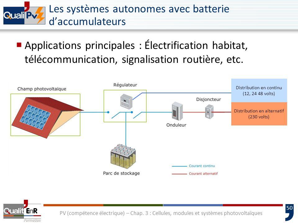 49 PV (compétence électrique) – Chap. 3 : Cellules, modules et systèmes photovoltaïques Les systèmes autonomes au fil du soleil Application principale
