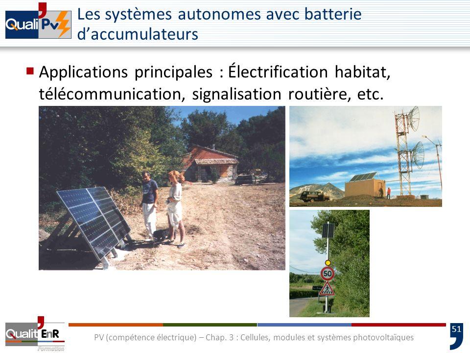 50 PV (compétence électrique) – Chap. 3 : Cellules, modules et systèmes photovoltaïques Les systèmes autonomes avec batterie daccumulateurs Applicatio