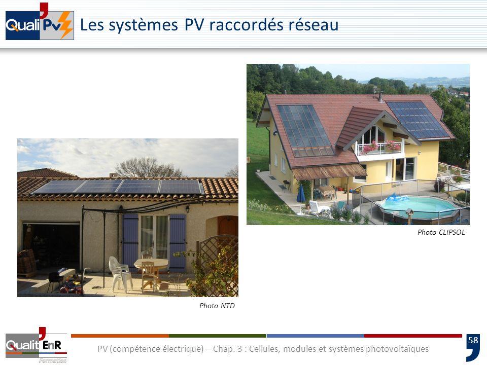 57 PV (compétence électrique) – Chap. 3 : Cellules, modules et systèmes photovoltaïques Les systèmes PV raccordés réseau Vente du surplus Disjoncteur