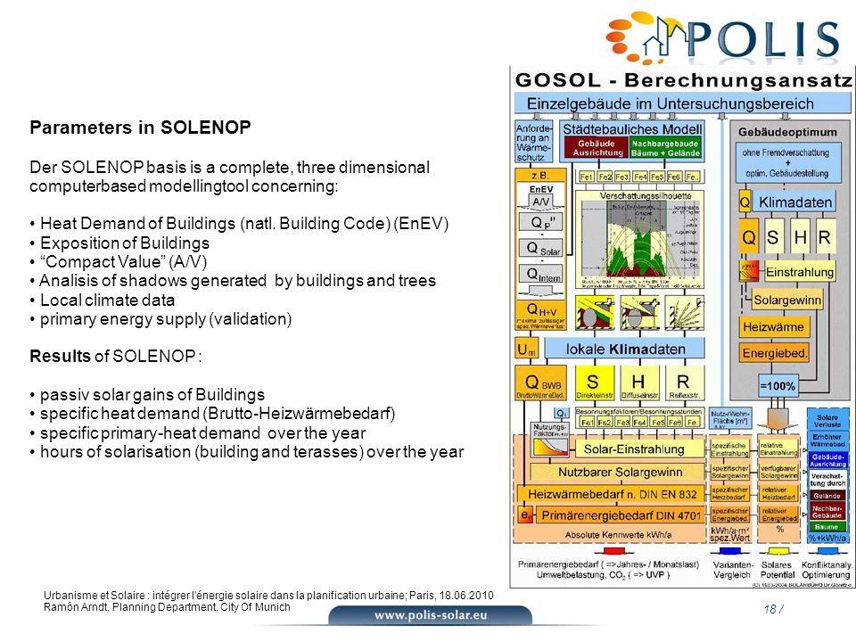 18 / Urbanisme et Solaire : intégrer l'énergie solaire dans la planification urbaine; Paris, 18.06.2010 Ramón Arndt, Planning Department, City Of Muni