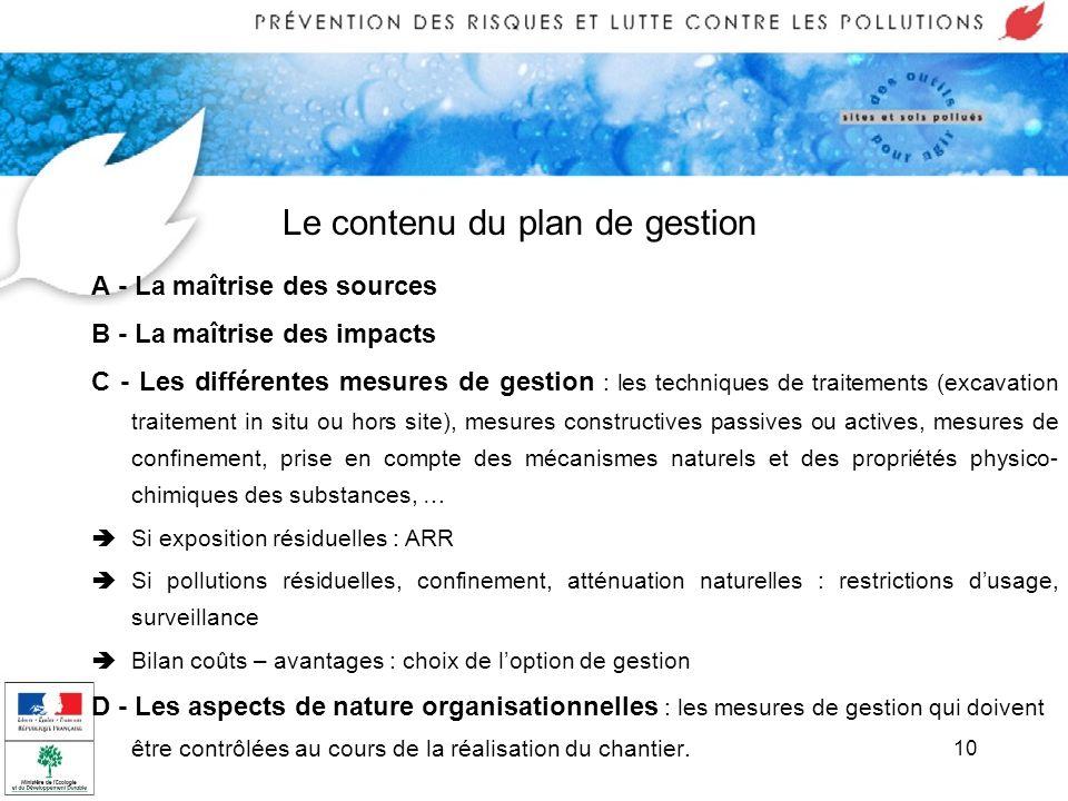 10 Le contenu du plan de gestion A - La maîtrise des sources B - La maîtrise des impacts C - Les différentes mesures de gestion : les techniques de tr
