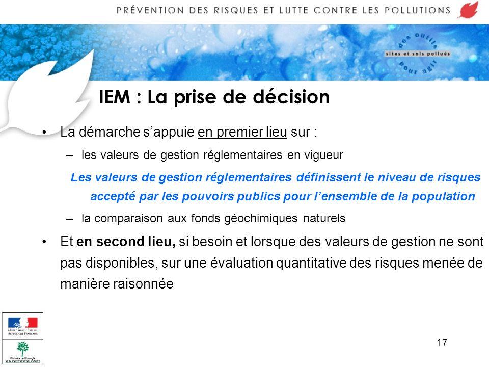 17 IEM : La prise de décision La démarche sappuie en premier lieu sur : –les valeurs de gestion réglementaires en vigueur Les valeurs de gestion régle
