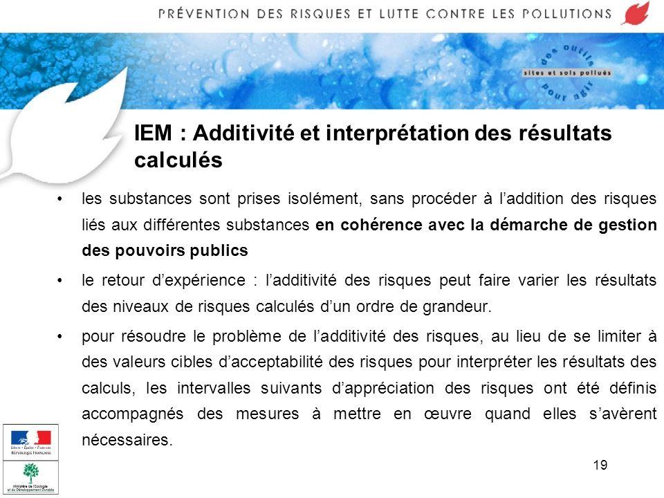 19 IEM : Additivité et interprétation des résultats calculés les substances sont prises isolément, sans procéder à laddition des risques liés aux diff