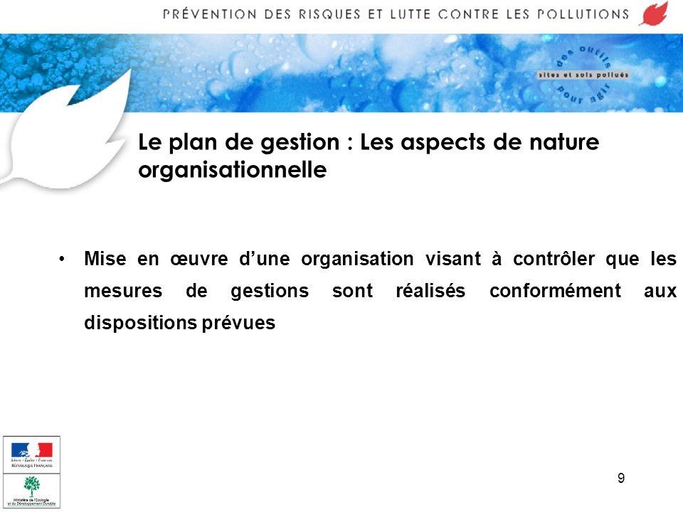 9 Le plan de gestion : Les aspects de nature organisationnelle Mise en œuvre dune organisation visant à contrôler que les mesures de gestions sont réa