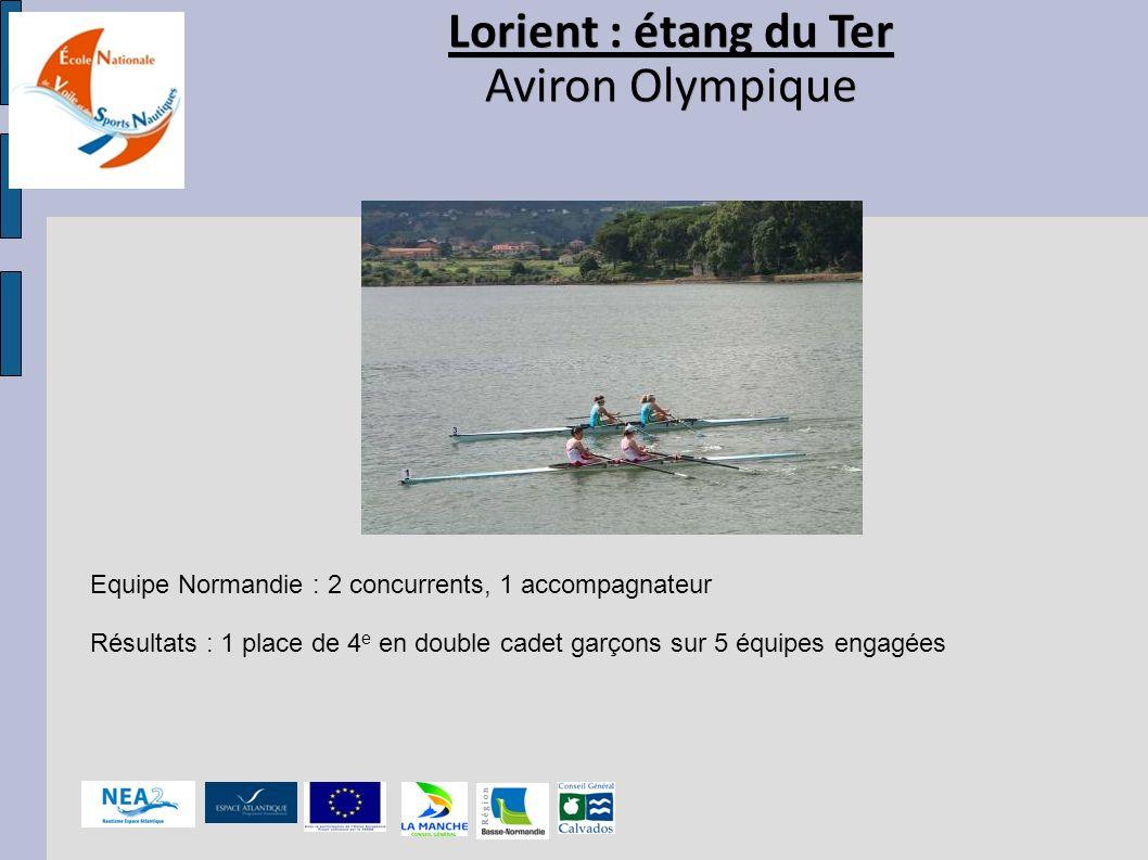 Lorient : étang du Ter Aviron Olympique Lorient : étang du Ter Aviron Olympique Equipe Normandie : 2 concurrents, 1 accompagnateur Résultats : 1 place