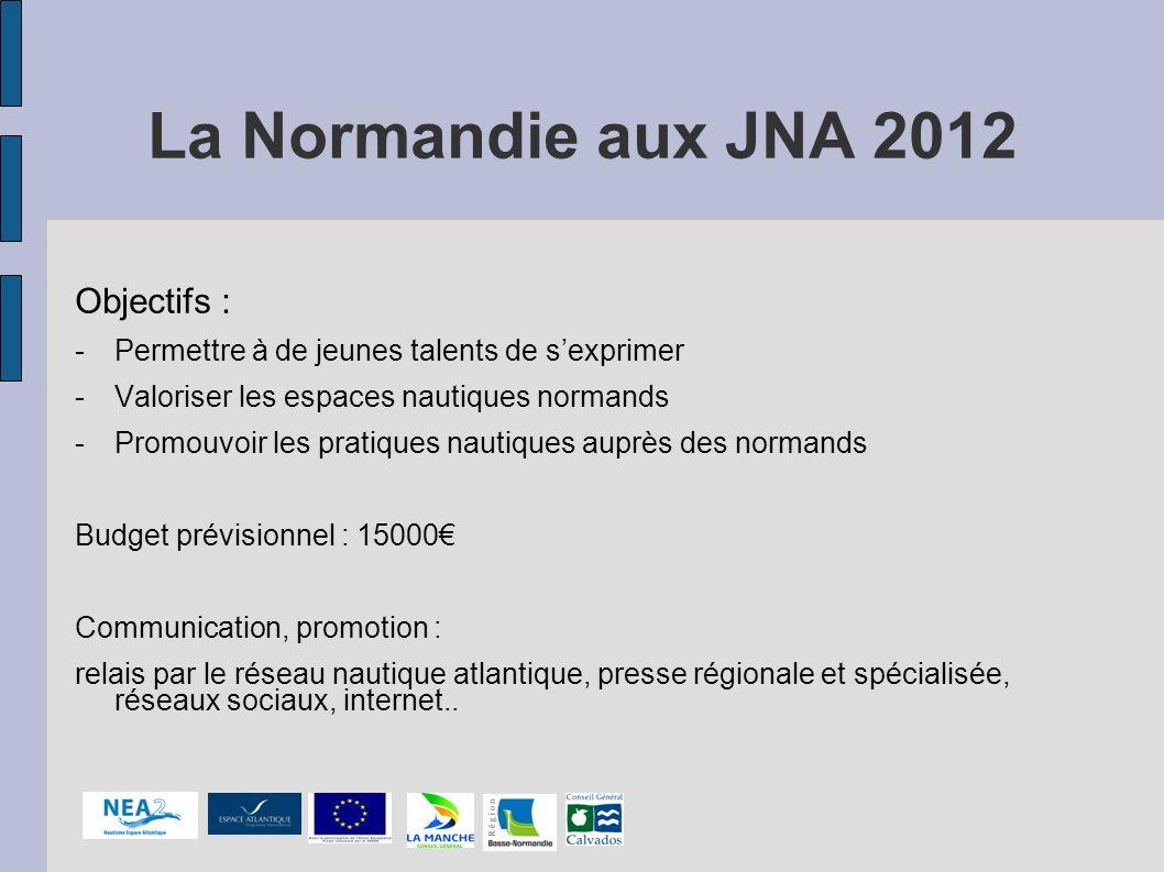 La Normandie aux JNA 2012 Objectifs : -Permettre à de jeunes talents de sexprimer -Valoriser les espaces nautiques normands -Promouvoir les pratiques