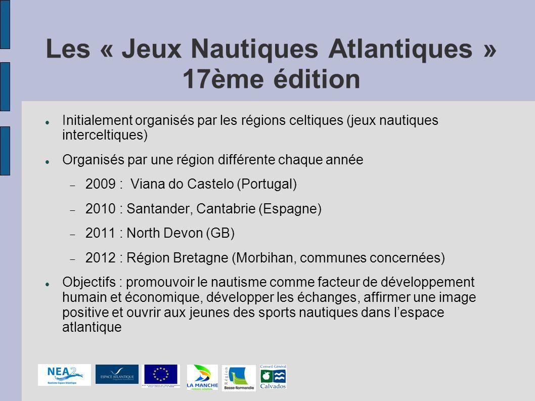 Les « Jeux Nautiques Atlantiques » 17ème édition Initialement organisés par les régions celtiques (jeux nautiques interceltiques) Organisés par une ré