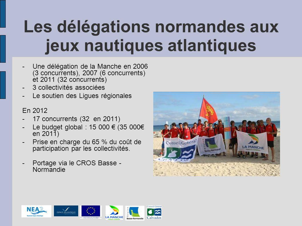 Les délégations normandes aux jeux nautiques atlantiques -Une délégation de la Manche en 2006 (3 concurrents), 2007 (6 concurrents) et 2011 (32 concur
