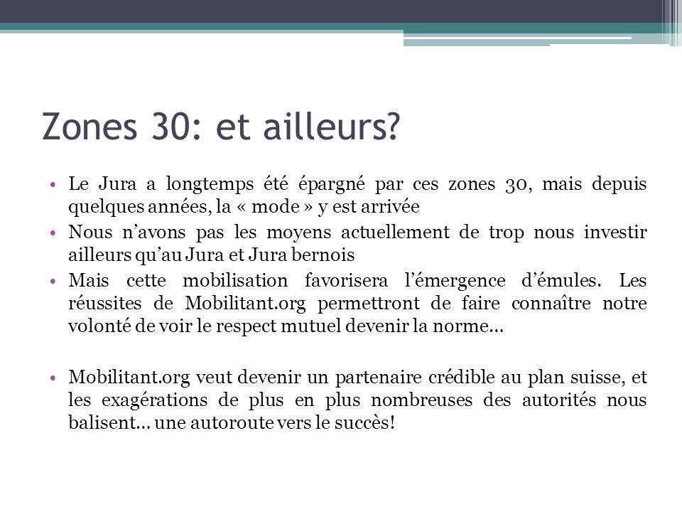 Zones 30: et ailleurs? Le Jura a longtemps été épargné par ces zones 30, mais depuis quelques années, la « mode » y est arrivée Nous navons pas les mo