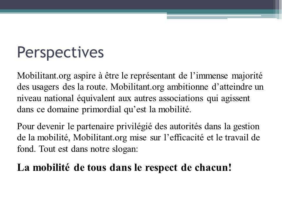 Perspectives Mobilitant.org aspire à être le représentant de limmense majorité des usagers des la route. Mobilitant.org ambitionne datteindre un nivea