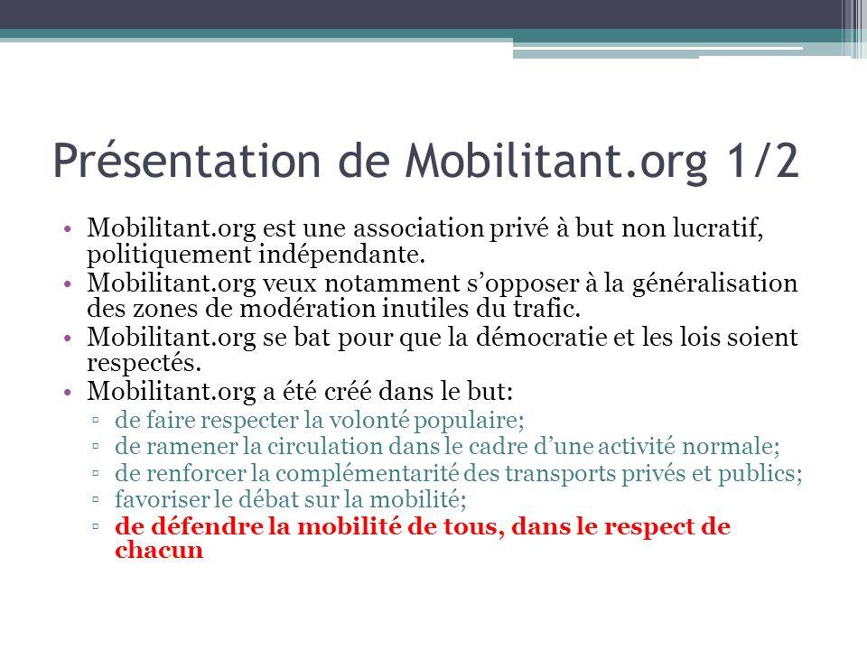 Présentation de Mobilitant.org 1/2 Mobilitant.org est une association privé à but non lucratif, politiquement indépendante. Mobilitant.org veux notamm