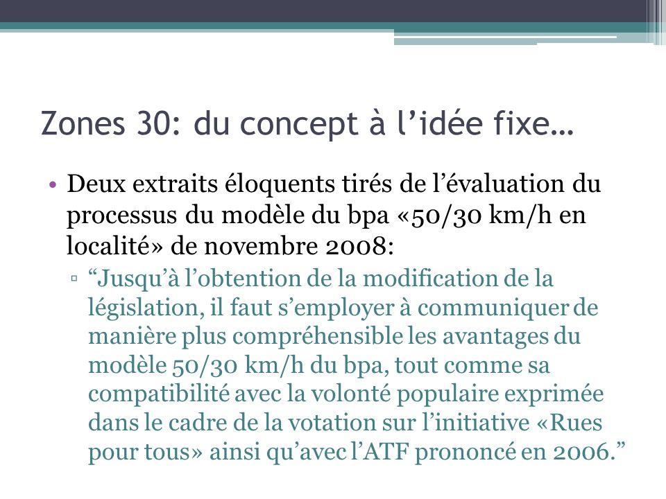 Zones 30: du concept à lidée fixe… Deux extraits éloquents tirés de lévaluation du processus du modèle du bpa «50/30 km/h en localité» de novembre 200