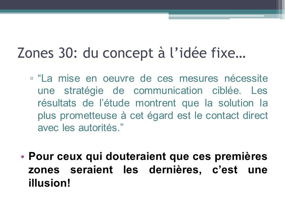 Zones 30: du concept à lidée fixe… La mise en oeuvre de ces mesures nécessite une stratégie de communication ciblée. Les résultats de létude montrent