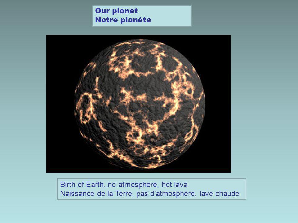 Our planets surface hardens La surface de notre planète durcit Comets and meteroids collide with Earth and bring WATER Les comètes et météorites entrent en collision avec la Terre et apportent de lEAU
