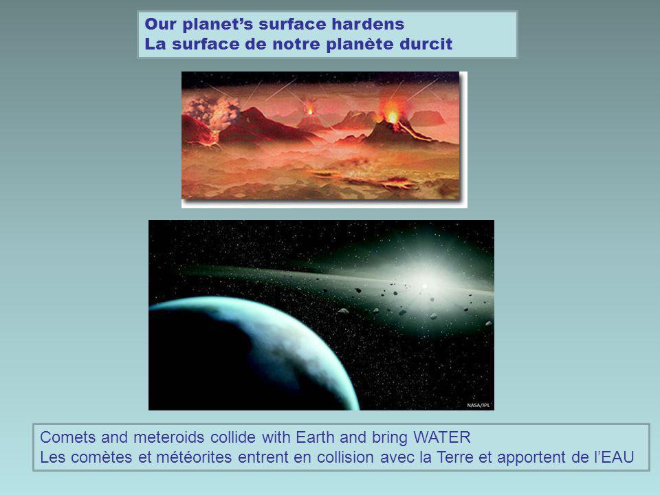 Our planets atmosphere appears Latmosphère de notre planète apparaît Volcanic activity and water vapor create an atmosphere Lactivité volcanique et la vapeur deau créé une atmosphère