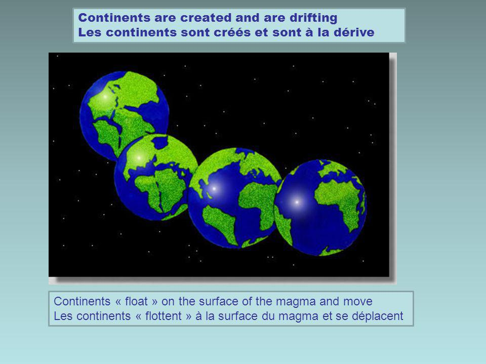 Continents are created and are drifting Les continents sont créés et sont à la dérive Continents « float » on the surface of the magma and move Les continents « flottent » à la surface du magma et se déplacent