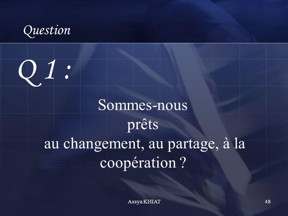 Sommes-nous prêts au changement, au partage, à la coopération ? Question Q 1 : 48Assya KHIAT